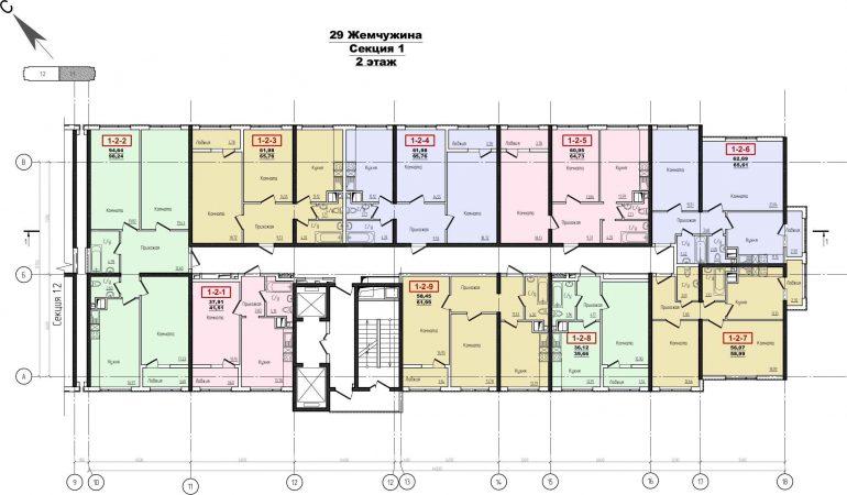 Кадорр, Жемчужина 29, Планировка секция 1, этаж 2-4