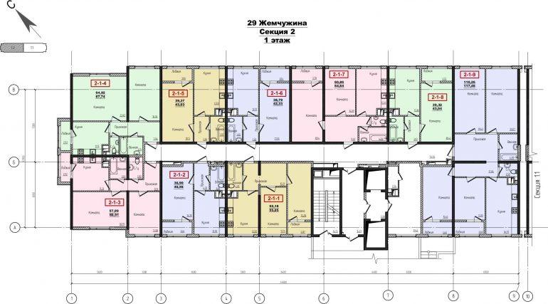 Кадорр, Жемчужина 29, Планировка секция 2, этаж 1