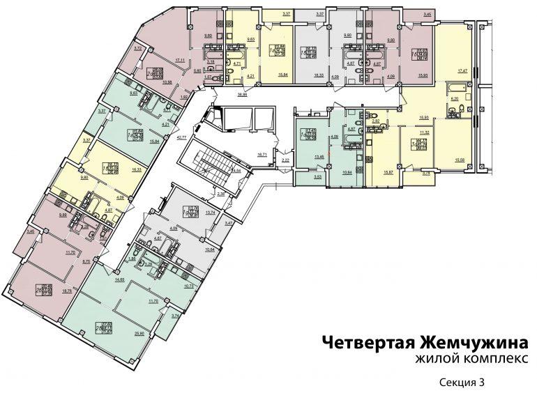 Кадорр, 4 Жемчужина, Планировка типового этажа секция 3