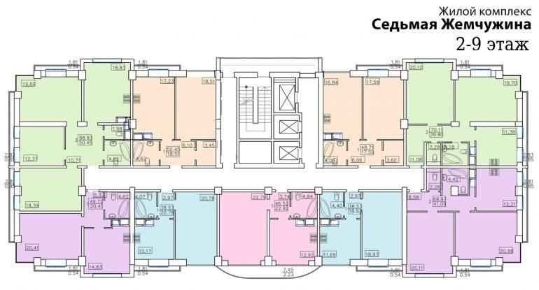 Кадорр, 7 Жемчужина. Планировка типового этажа