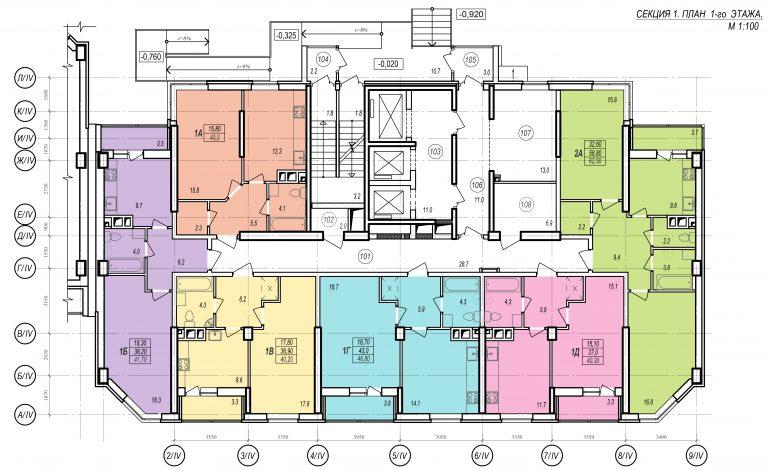 Планировки ЖК Балковский - Стикон. Секция 1, этаж 1