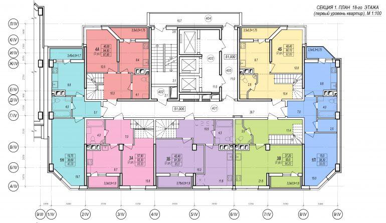 Планировки ЖК Балковский - Стикон. Секция 1, этаж 18