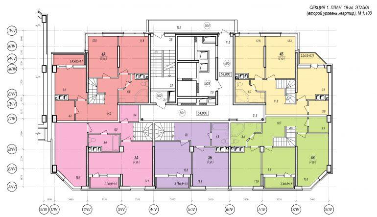 Планировки ЖК Балковский - Стикон. Секция 1, этаж 19