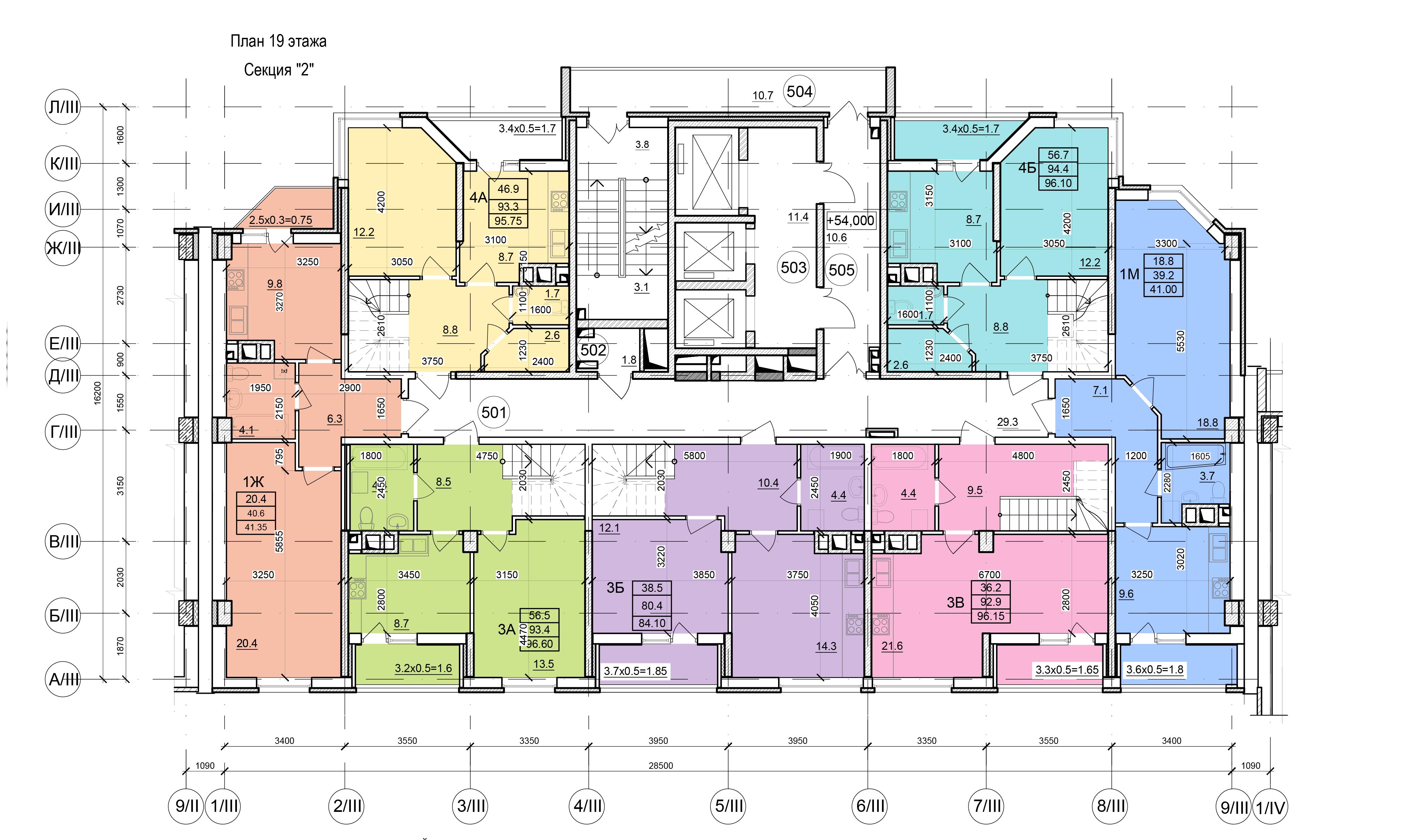 Планировки ЖК Балковский - Стикон. Секция 2, этаж 19