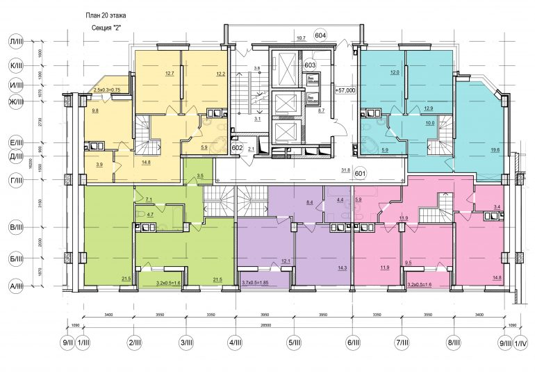 Планировки ЖК Балковский - Стикон. Секция 2, этаж 20