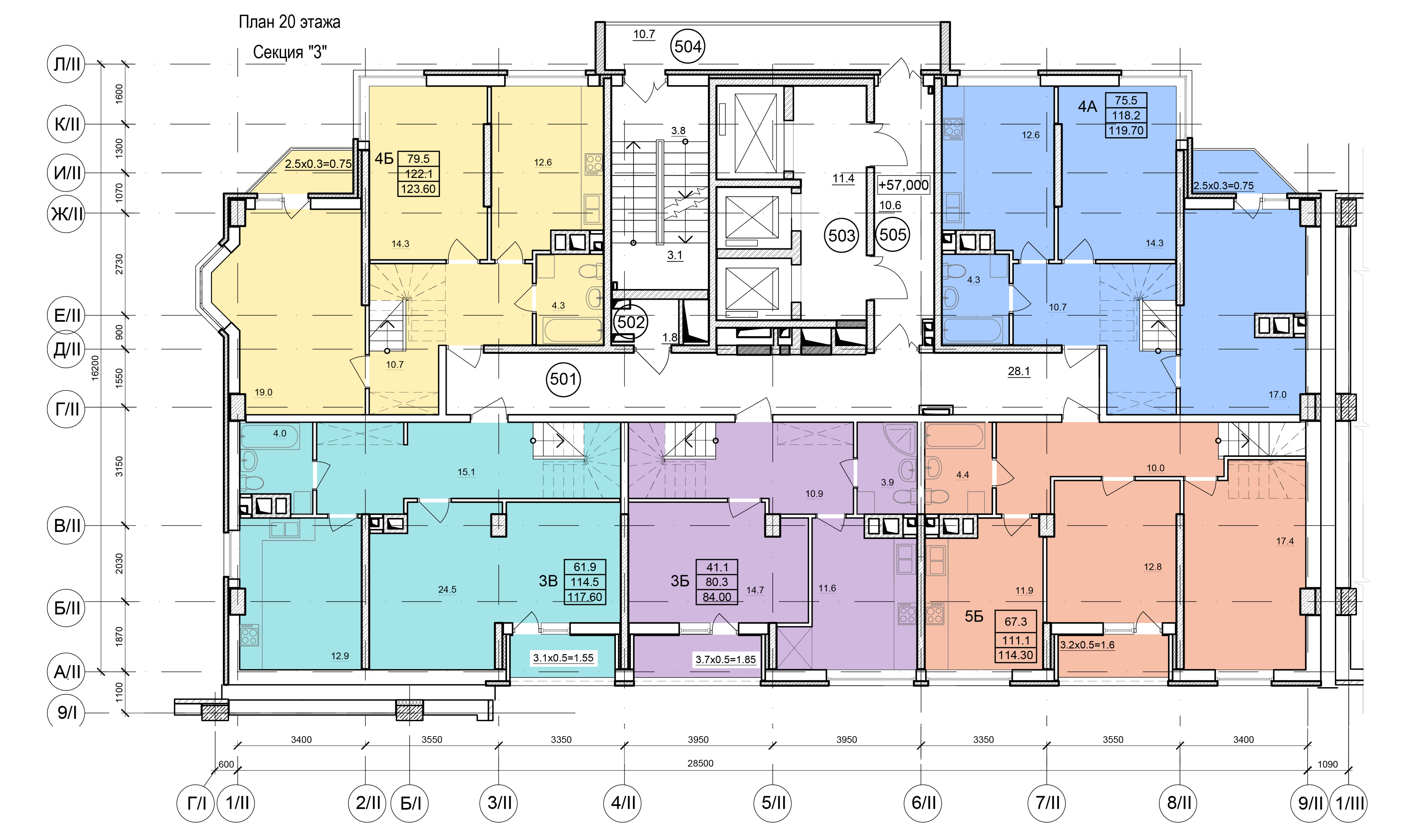 Планировки ЖК Балковский - Стикон. Секция 3, этаж 20