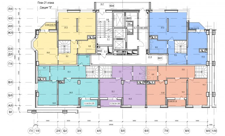 Планировки ЖК Балковский - Стикон. Секция 3, этаж 21