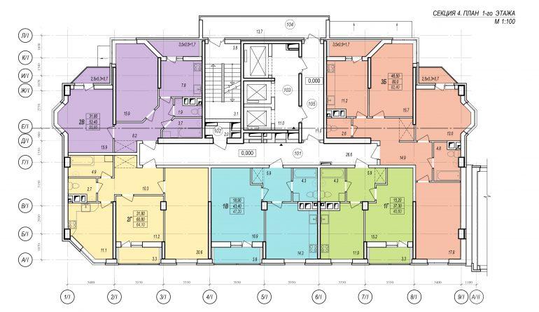 Планировки ЖК Балковский - Стикон. Секция 4, этаж 1