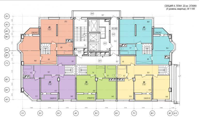 Планировки ЖК Балковский - Стикон. Секция 4, этаж 22