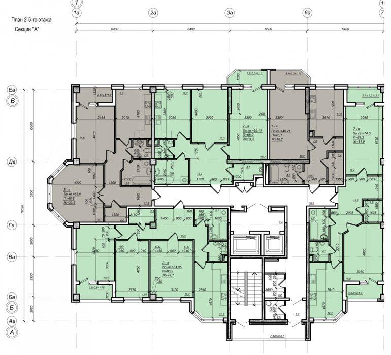 Планировка ЖК Нагорный секция А, этаж 2-5