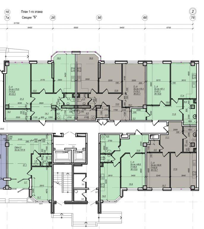 Планировка ЖК Нагорный секция Б, этаж 1