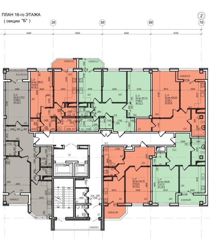 Планировка ЖК Нагорный секция Б, этаж 16
