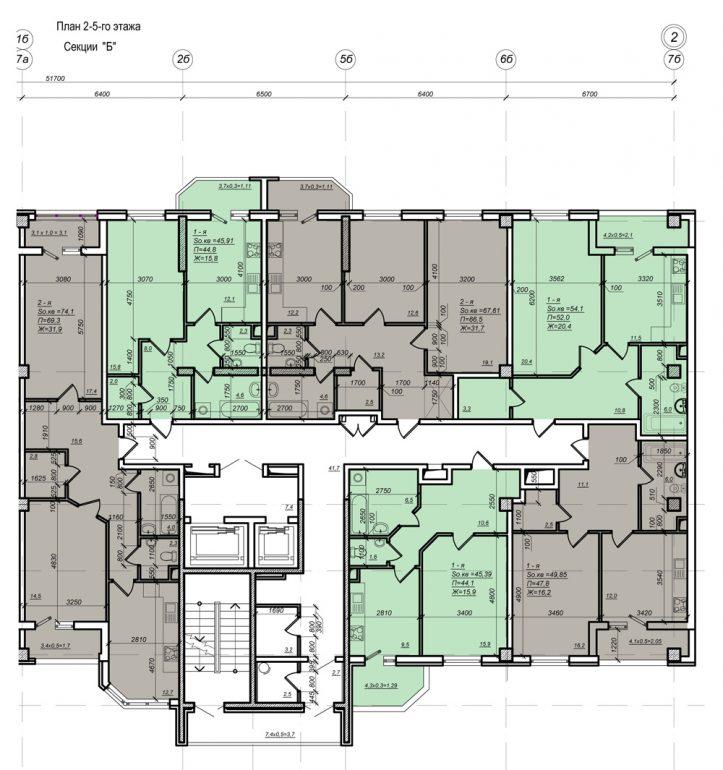Планировка ЖК Нагорный секция Б, этаж 2-5