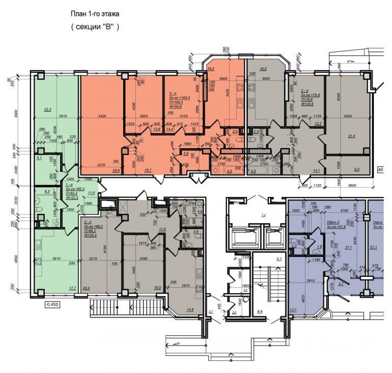 Планировка ЖК Нагорный секция В, этаж 1