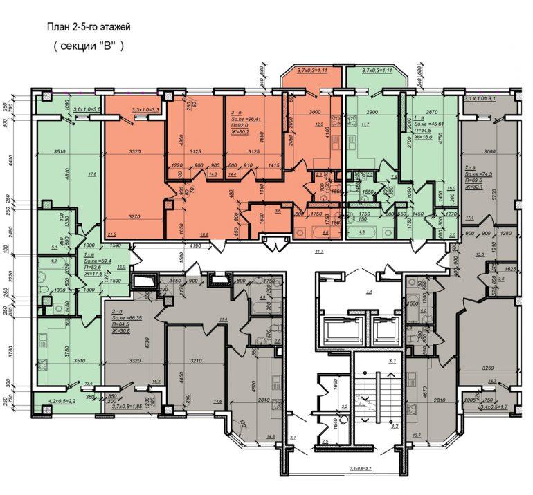 Планировка ЖК Нагорный секция В, этаж 2-5