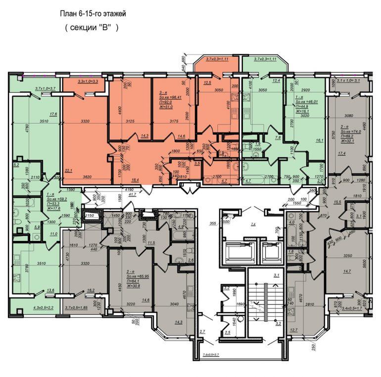 Планировка ЖК Нагорный секция В, этаж 6-15