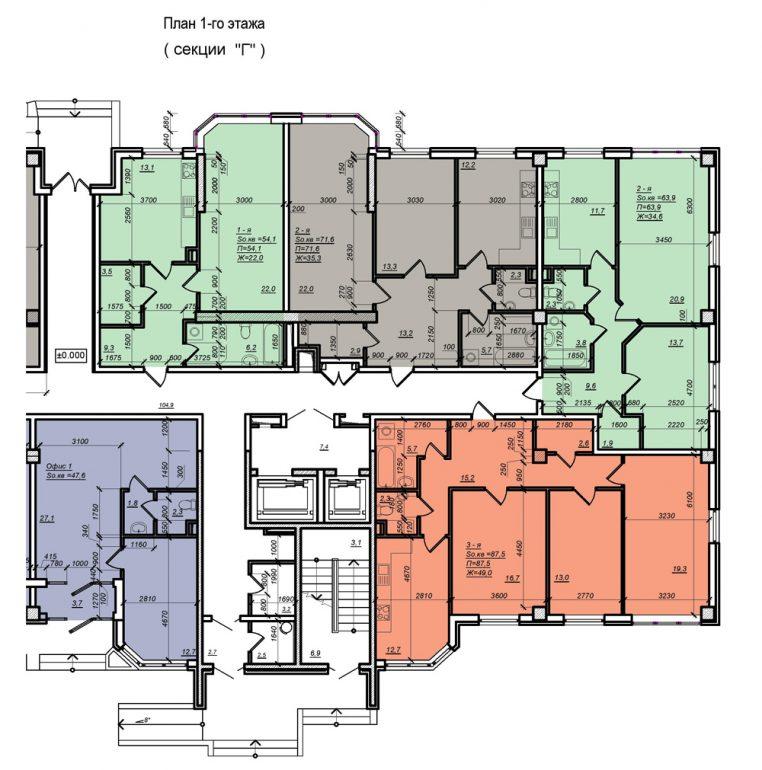Планировка ЖК Нагорный секция Г, этаж 1