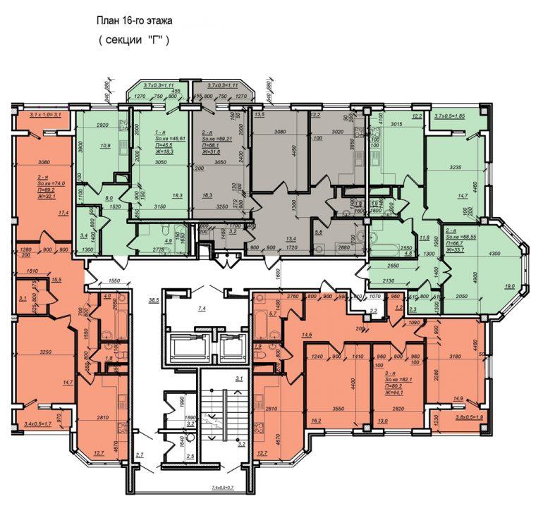 Планировка ЖК Нагорный секция Г, этаж -16