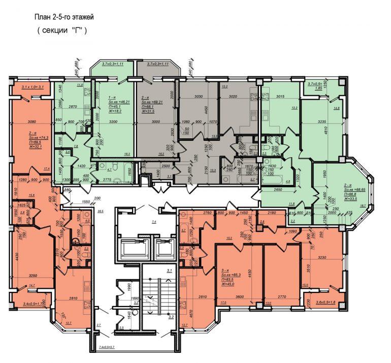 Планировка ЖК Нагорный секция Г, этаж 2-5