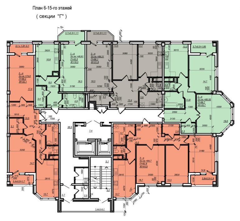 Планировка ЖК Нагорный секция Г, этаж -6-15