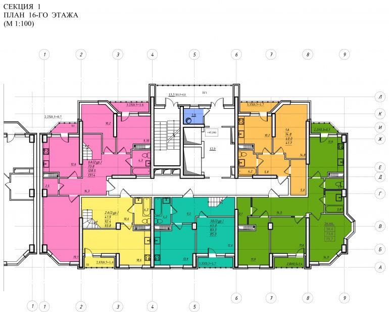 Планировка ЖК Романовский Стикон. Секция 1, этаж 16