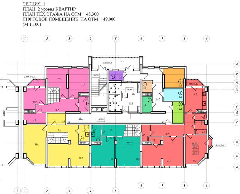 Планировка ЖК Романовский Стикон. Секция 1, этаж 17