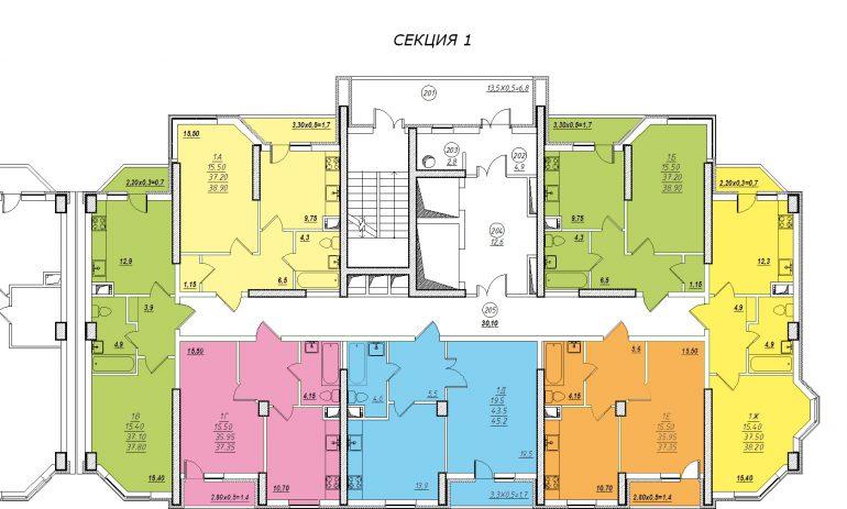 Планировка ЖК Романовский Стикон. Секция 1, этаж 2-15