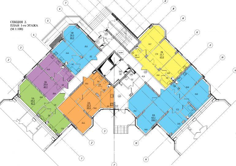 Планировка ЖК Романовский Стикон. Секция 2, этаж 1