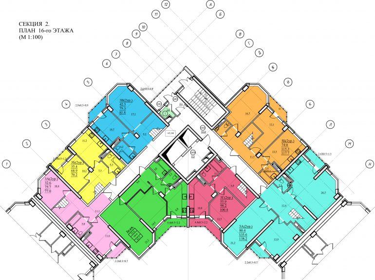 Планировка ЖК Романовский Стикон. Секция 2, этаж 16