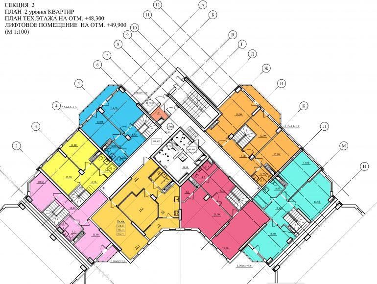 Планировка ЖК Романовский Стикон. Секция 2, этаж 17