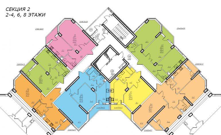 Планировка ЖК Романовский Стикон. Секция 2, этаж 2-8