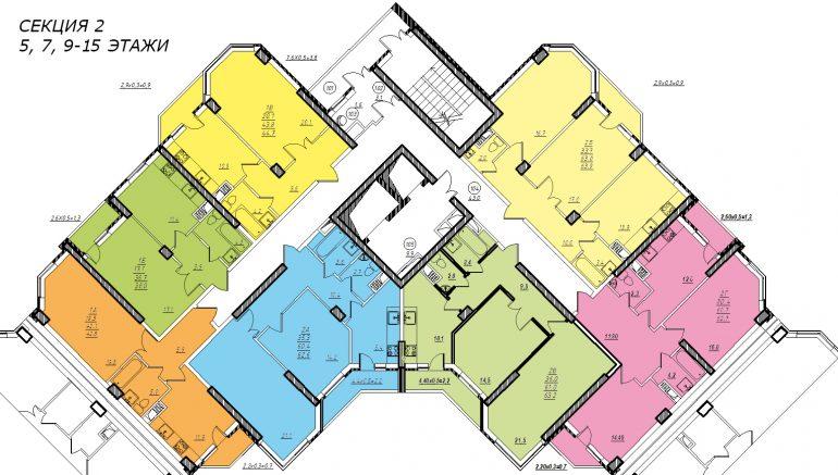 Планировка ЖК Романовский Стикон. Секция 2, этаж 5-15