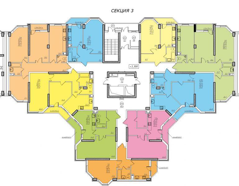 Планировка ЖК Романовский Стикон. Секция 3, этаж 2-15