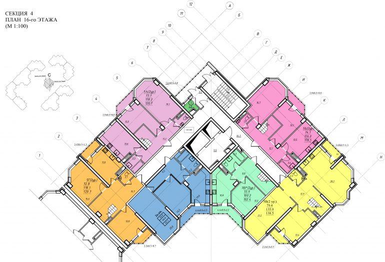 Планировка ЖК Романовский Стикон. Секция 4, этаж 16
