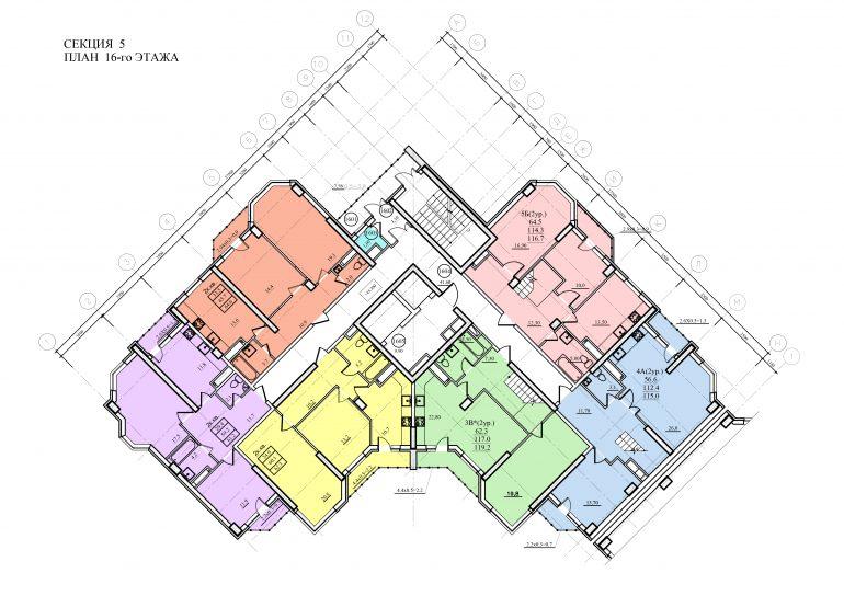 Планировка ЖК Романовский Стикон. Секция 5, этаж 16
