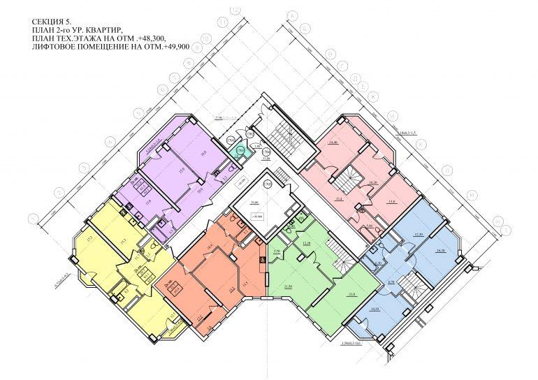 Планировка ЖК Романовский Стикон. Секция 5, этаж 17