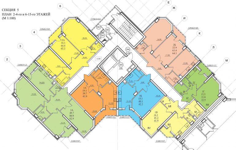 Планировка ЖК Романовский Стикон. Секция 5, этаж 2-15
