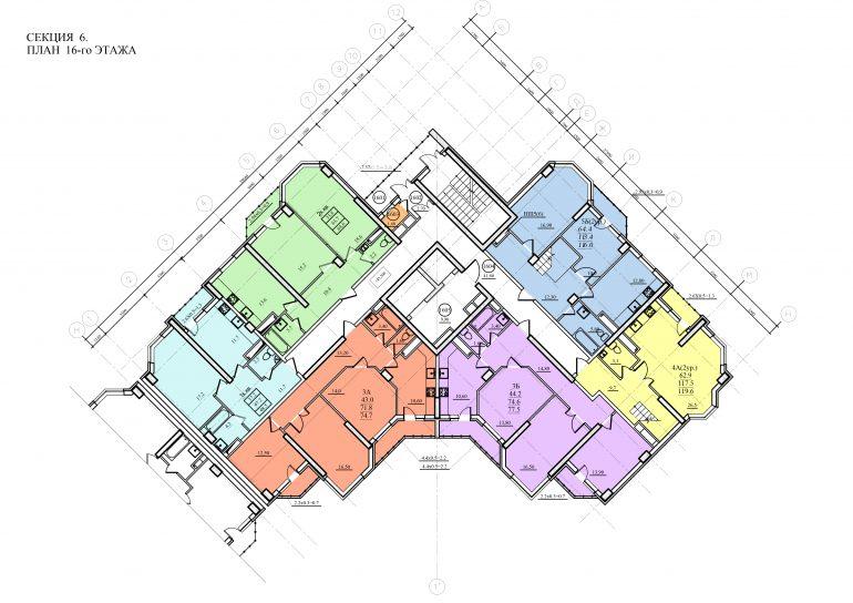 Планировка ЖК Романовский Стикон. Секция 6 , этаж 16