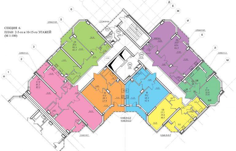 Планировка ЖК Романовский Стикон. Секция 6 , этаж 2-15