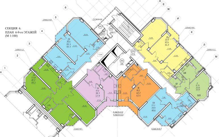 Планировка ЖК Романовский Стикон. Секция 6 , этаж 6-9