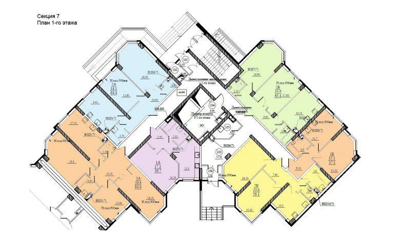 Планировка ЖК Романовский Стикон. Секция 7 , этаж 1