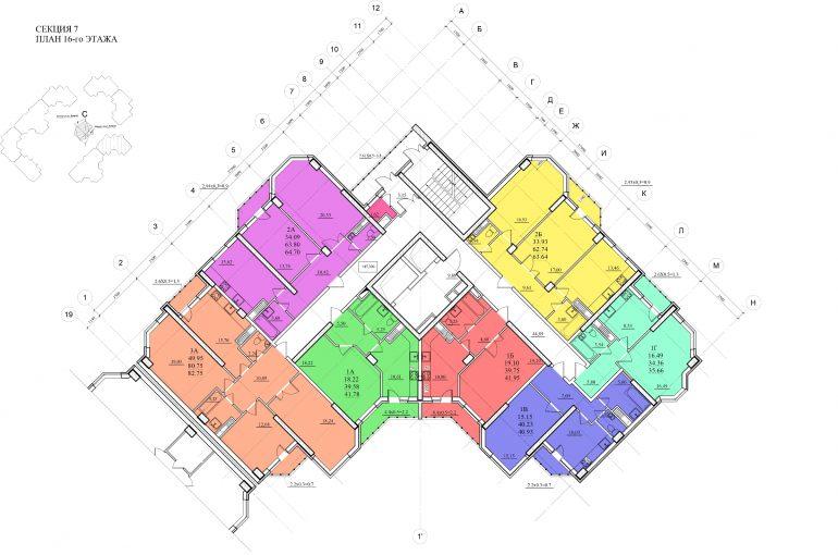 Планировка ЖК Романовский Стикон. Секция 7 , этаж 16