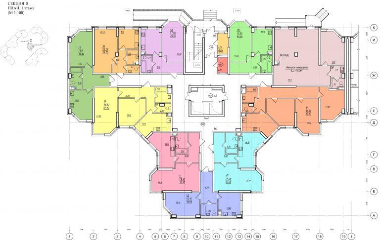 Планировка ЖК Романовский Стикон. Секция 8, этаж 1