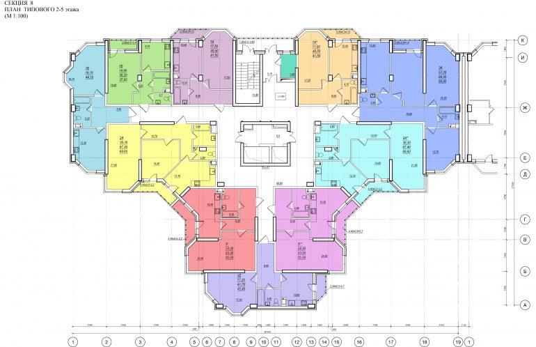 Планировка ЖК Романовский Стикон. Секция 8, этаж 2-5
