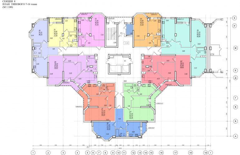 Планировка ЖК Романовский Стикон. Секция 8, этаж 7-16