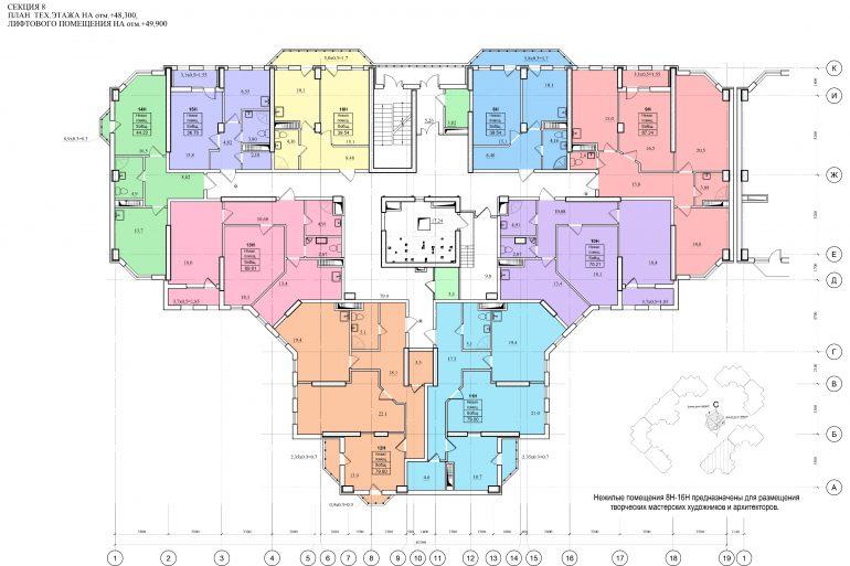 Планировка ЖК Романовский Стикон. Секция 8, этаж технический