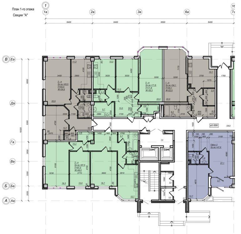 Стикон Нагорный, Планировка 1-я секция, этаж 1