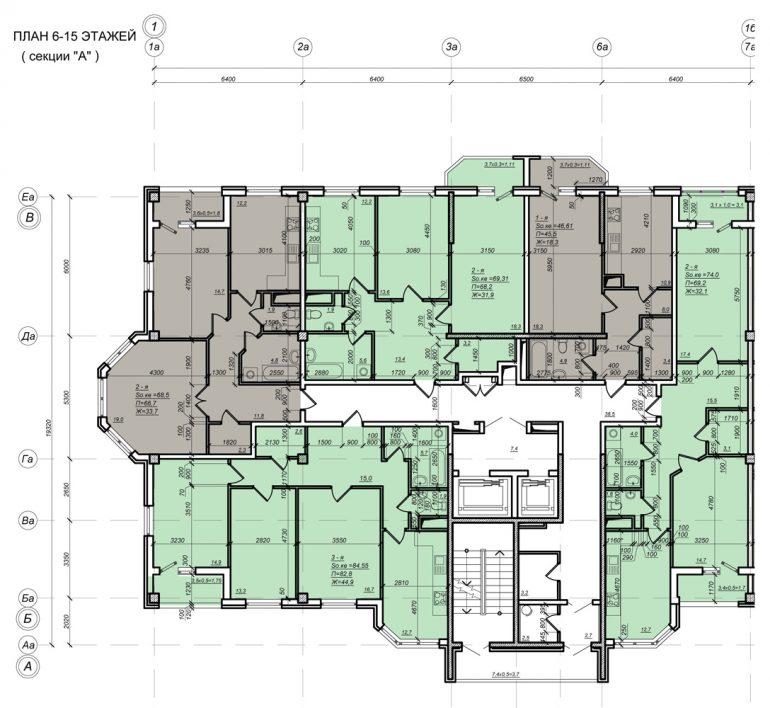 Стикон Нагорный, Планировка 1-я секция, этаж 6-15