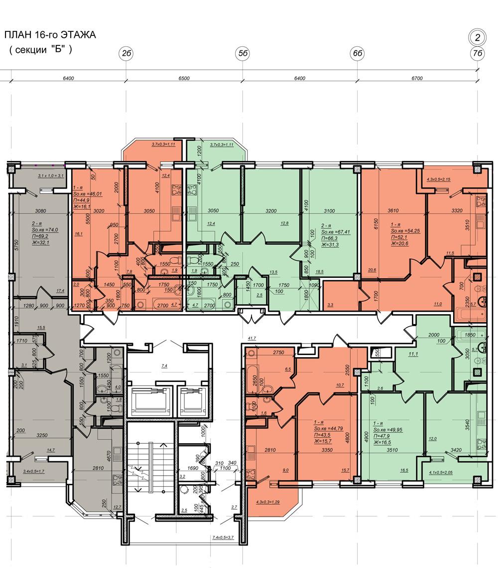 Стикон Нагорный, Планировка 2-я секция, этаж 16