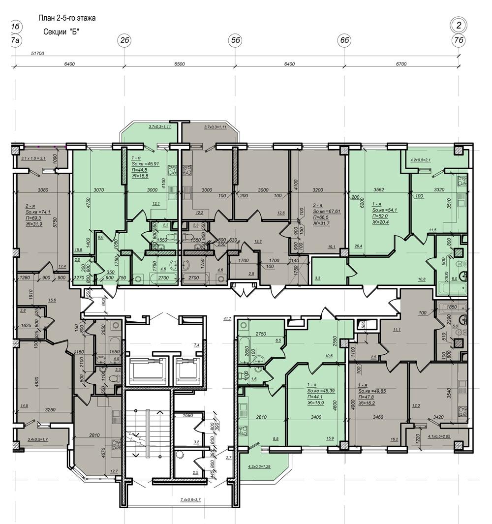Стикон Нагорный, Планировка 2-я секция, этаж 2-5